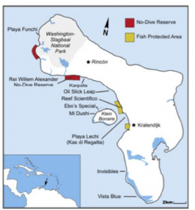 Map of the 10 coral bleaching survey sites on the leeward coast of Bonaire and Klein Bonaire